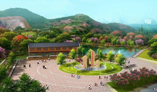 """""""公园""""或""""二龙山森林公园"""")位于广东省东部,广州市中部的小楼镇邓山村图片"""